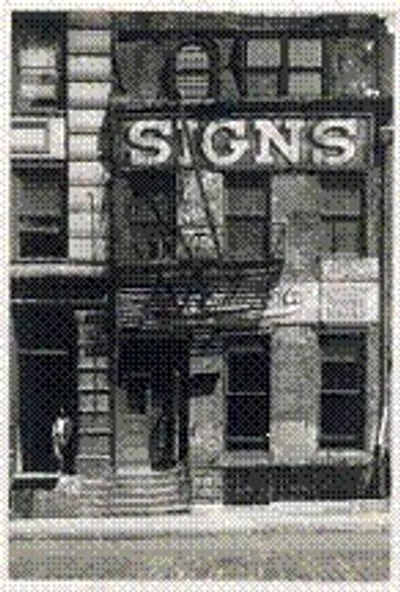"Peter Sekaer, ""A Sign Business Shop, New York,"" 1935.  Vintage gelatin silver print 6 1/4 x 4 1/2 in."