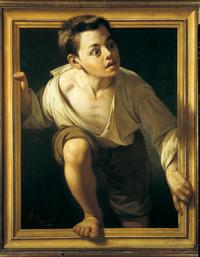 Palazzo Strozzi's exhibition 'Art and Illusion' featured Pere Borrell Del Caso's (1835-1910) Escaping Criticism, 1874.  Oil on canvas, 76 x 63 cm.  Collection of the Bank of Spain.