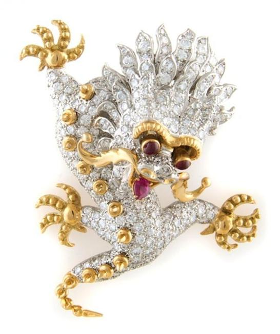 Selling for $67,100, this brooch, circa 1968, by Donald Claflin for Tiffany & Co., depicts a Chinese dragon with pave diamonds and rubies for eyes.