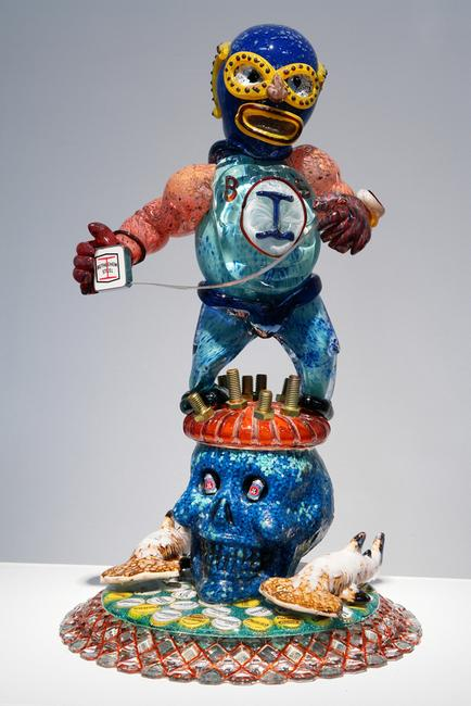"Jamex and Einar de la Torre, ""Bethlehem Boy,"" 2007.  Blown glass and mixed media, 34 x 19 x 13 inches."