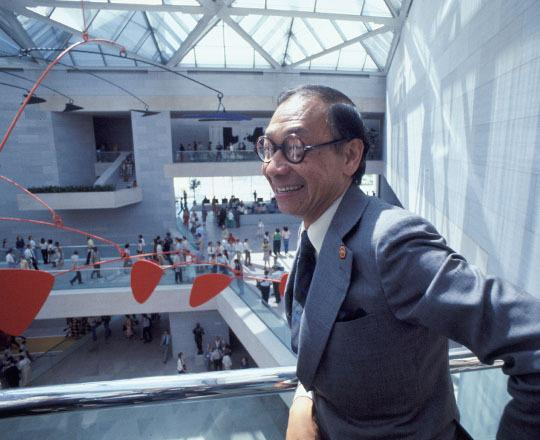 Architect I.M.  Pei in the East Building of the National Gallery of Art on opening day, June 1, 1978.  Photo © Dennis Brack/Black Star.  National Gallery of Art, Washington, Gallery Archives