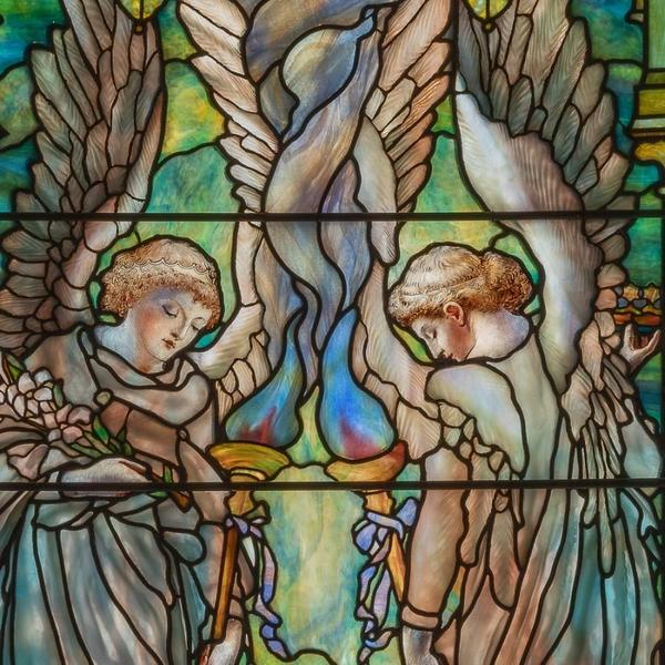 Tiffany Studios, American (1902-1932), designed by Frederick Wilson (American, born Ireland, 1858-1932).  Ecclesiastical Angels (Angels of Peace and Mercy) (detail), 1905.  Leaded and enameled glass.  The Collection of Richard H.  Driehaus, Chicago, 40016.  Photograph by Michael Tropea, 2018.