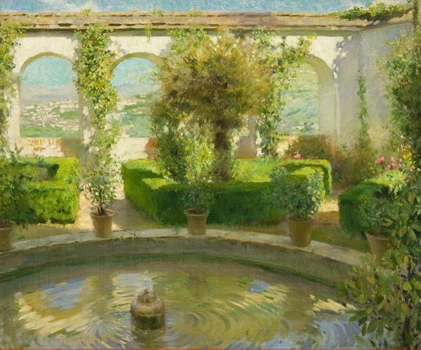 "Gavin Spanierman sold a painting titled ""Fountain in a Spanish Garden"" by F Luis Mora, which had an asking price of $110,000."