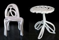 """A round-back chair and table from the """"Sketch Furniture"""" series (2005) from Stockholm's Front Design was acquired for the High's decorative arts and design department."""