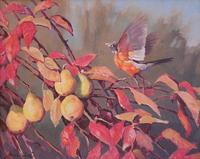 Daniel Loge, Robin in a Pear Tree, o/c 16 x 20 in.
