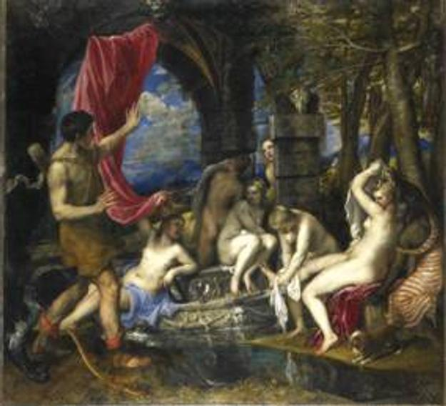 "Titian's ""Diana and Actaeon"" depicts the moment Diana and her nymphs are caught bathing by the hunter Actaeon."
