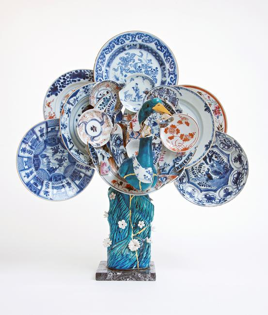 Bouke de Vries, Peacock 1.  20th century Chinese porcelain bird, 18th century Chinese porcelain fragments and mixed media
