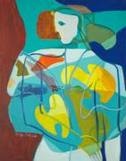 Anya Fisher, White Faced Woman Facing Left With Teal Background, circa 1970's, oil on canvas, 30 x 24, signed lower left