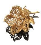 14-Karat Yellow-Gold and Diamond Rose Bud 'En Tremblant' Brooch, Robert Altman Inc.  ($1,200-$1,800)