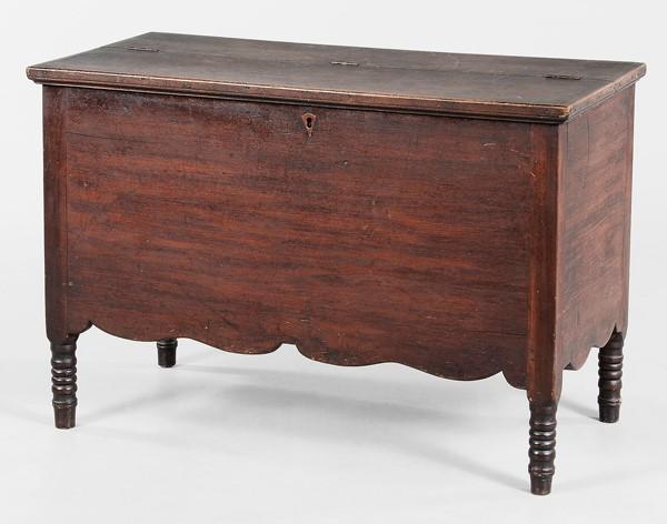 Attributed to Stephen H.  White (1787–1857, Madison County, Georgia), sugar chest, ca.  1830–50.  Walnut and yellow pine, 24 1/2 x 36 x 17 1/2 inches.  Cobbham Collection by William Dunn Wansley.