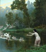 Jéan-Leon Gérôme, Leda and the Swan, Circa 1895