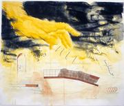 Jody Pinto.  Fingerspan Bridge, 1987 Drawing, sheet size 60 x 72 inches.  Preparatory to the installation of the nine-ton, Corten steel bridge installed over the Wissahickon Creek in Fairmount Park, Philadelphia, in 1987.