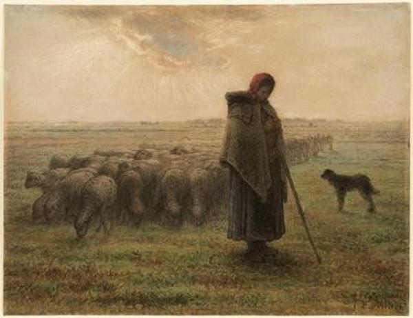 Shepherdess and Her Flock by Jean-François Millet (French, 1814 - 1875) about 1864–1865.  Black chalk and pastel, 36.4 × 47.5 cm (14 5/16 × 18 11/16 in.)