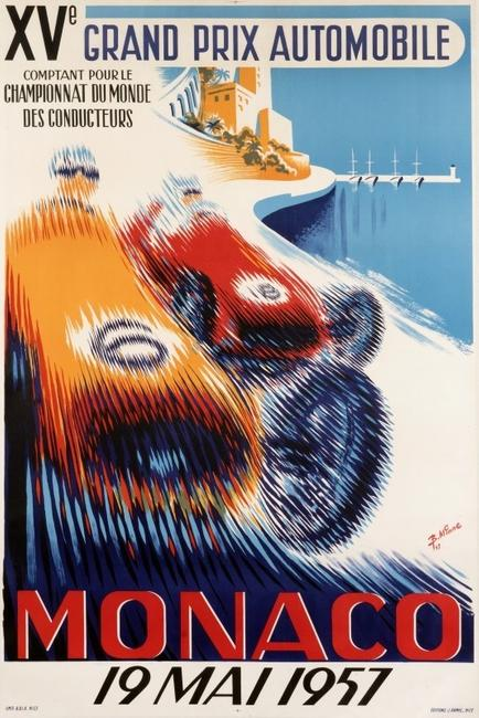 Monaco Grand Prix.  Race cars dissolve into a blur of vibrant colors in this daring Mid-Century design.