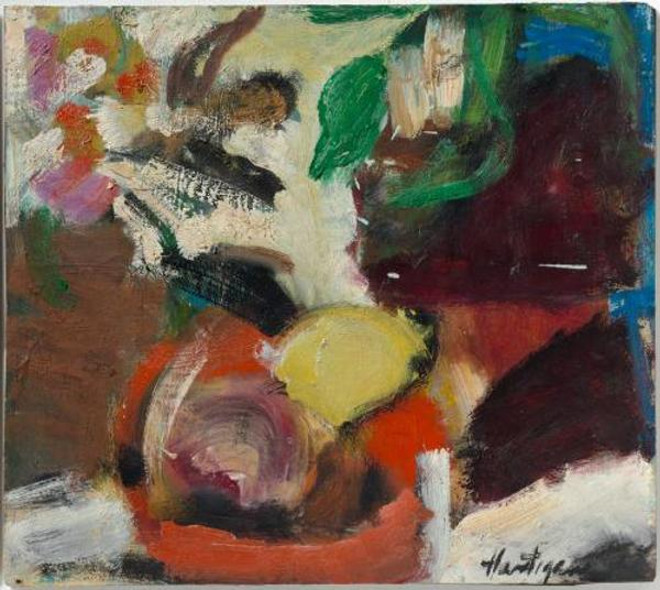 Grace Hartigan.  Red Bowl.  1953.  The Baltimore Museum of Art: Gift of Herman Jervis, New York, in Memory of Dorothy B.  Jervis, BMA 1986.194.  © Estate of Grace Hartigan