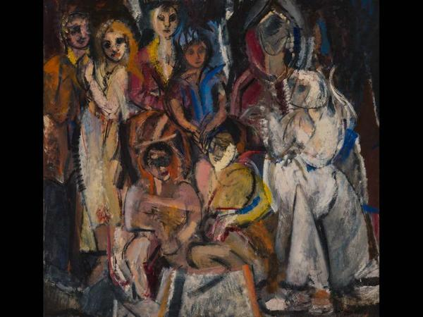 Grace Hartigan, Masquerade, 1954.  Oil on canvas.  Collection of Lizbeth and George Krupp.  © Estate of Grace Hartigan.