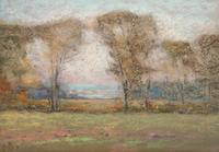"Henry Cooke White (1861 - 1952) In the Meadows estate stamped lower left pastel on paper 8"" x 11 3/4"""