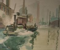 Pictured: Artist Henry Gasser (1909-1981), Watercolor, Tugboat, c.  1940's, Frame size 20H x 23W