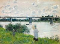Claude Monet, French, 1840–1926; The Promenade with the Railroad Bridge, Argenteuil, 1874; oil on canvas; 21 1/8 x 28 3/8 inches; Saint Louis Art Museum, Gift of Sydney M.  Shoenberg Sr.  45:1973