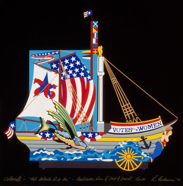 Robert Indiana, Design for starboard view, Ship of State - Bicentennial Procession, in The Mother of Us All , 1976.  Cut paper.  Collection of the McNay Art Museum, Gift of Robert L.  B.  Tobin.  © Morgan Art Foundation/ Artists Rights Society (ARS), New York