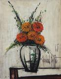 "Lot 60: BUFFET, Bernard.  Oil on Canvas ""Soucis Oranges"" Floral Still Life."