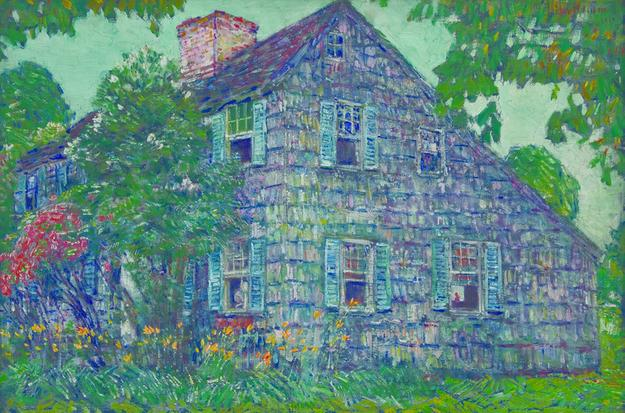 Transcending Vision: American Impressionism, 1870-1940, on view May 14 – September 25, 2011, includes Childe Hassam's Old House, East Hampton, 1917.  Oil on canvas, 20 x 30 in.  Bank of America Collection.