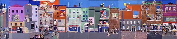 # The Block, 1971 Romare Bearden (American, 1911–1988) Cut and pasted printed, colored and metallic papers, photostats, pencil, ink marker, gouache, watercolor, and pen and ink on Masonite Overall: 48 x 216 in.  (121.9 x 548.6 cm); six panels, each: 48 x 36 in.  (121.9 x 91.4 cm) Gift of Mr.  and Mrs.  Samuel Shore, 1978 (1978.61.1–6) © Romare Bearden Foundation/Licensed by VAGA, New York, NY