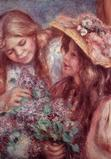 Pierre August Renoir, Jeune filles aux lilas, c.  1890 21 5/8 by 8 inches oil on canvas The Lois and David Lerner Collection