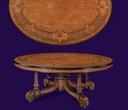 AN IMPORTANT MID-VICTORIAN BURR-AMBOYNA, AMARANTH, PALMWOOD, EBONISED AND MARQUETRY CENTER-TABLE DESIGNED BY OWEN JONES AND ALFRED LORIMER AND EXECUTED BY JACKSON AND GRAHAM, LONDON, CIRCA 1867