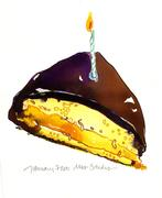 Boston Cream Pie with birthday candle