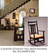 A Gustav Stickely Tall-back rocker, estimate $12,000-$15,000, from the Barbra Streisand auction Oct.  17-18.