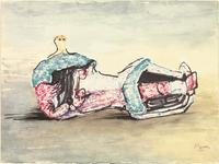 Henry Moore, English, 1898-1986 , Reclining Figure, 1972, chinagraph pen, watercolor and felt-tipped pen, Henry Moore Family Collection, © The Henry Moore Foundation.  All Rights Reserved / Artists Rights Society (ARS), New York