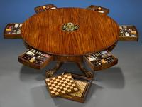 The Albemarle Club Games Table, circa 1875, English or Irish, diameter 65 1/8 inches.