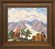 "Birger Sandzen (1871-1954) Rocks, Glaciers, Snow Mountain - Rocky Mountain National Park, Colorado.  14"" x 16"" oil on board.  signed lower right.  signed, titled and dated 1925 on back.  Estimate: $30,000-$35,000"