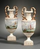 Pair of Wedgwood Marine Decorated Pearlware Vases, England, c.  1875, attributed to John Holloway, est.  $5000-$7000.