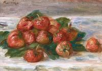 "Pierre-Auguste Renoir (French, 1841-1919) Nature morte aux fraises.  Oil on canvas, 7 3/4"" high x 11 1/8"" wide (canvas).  Signed ""Renoir"" (upper left).  Painted in 1908.  In a gilded Louis XV frame."