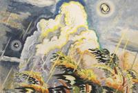 """Charles Burchfield, """"Moon and Thunderhead"""", 1960.  Watercolor, gouache, charcoal and chalk on paper, 34 ½ x 44 ½ in.  Photo: Courtesy DC Moore Gallery"""