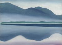 ":Georgia O'Keeffe, American (1887-1986), Lake George, 1922, oil on canvas, 16 ¼"" x 22 inches, San Francisco Museum of Modern Art, California.  Gift of the T.B.  Walker Foundation, 1954."