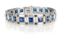 McTeigue (since 1895), based in New York City, showcased this magnificent Art Deco with 13.86 carats of square sapphire and 8.40 carats of baguette diamond bracelet in a platinum mounting.
