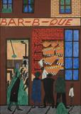 Jacob Lawrence, Bar-b-que, 1942.  Gouache on paper, 29 1/2 x 21 1/8 inches (sight); 30 7/8 x 22 1/2 inches (paper).  Terra Foundation for American Art, Daniel J.  Terra Art Acquisition Fund, 2013.1.  © 2013 The Jacob and Gwendolyn Lawrence Foundation, Seattle / Artists Rights Society (ARS), New York.  Image courtesy of DC Moore Gallery, New York.