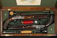 Auctioneers Bonhams & Butterfields sold this cased pair of English dueling pistols in San Francisco on June 28th for $49,725, twice the expectation - the pistols were made by an important English gunsmith for a South Carolina gentleman in 1825.