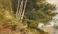 "Aaron Draper Shattuck (1832 - 1928) Summer Foliage, stamped lower right, oil on canvas laid down on masonite, 11 1/2"" x 19"""
