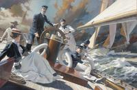 """A Thrash to Windward: Mrs.  Iselin and the Crew of COLUMBIA, 1899"", 44"" x 28"", Oil on Linen, by Russ Kramer of Stonington, CT"