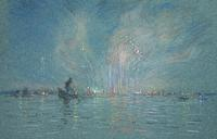 "Henry Cooke White (1861 - 1952) Festival of the Redentore, Venice, estate stamped verso, pastel on paper, 6 1/4"" x 9 1/2"""