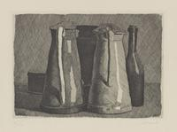 Giorgio Morandi, Still Life with Five Objects.  1956.  Etching on cream wove paper, 15 in.  x 18 1/2 in.  (38.1 cm x 46.99 cm).  BCMA Accession#: 2009.16.562
