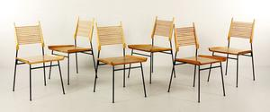 Lot#2112-Set of six Paul McCobb dining chairs for Planner, Winchendon, maple and iron, circa 1950, marked with labels on five of six.