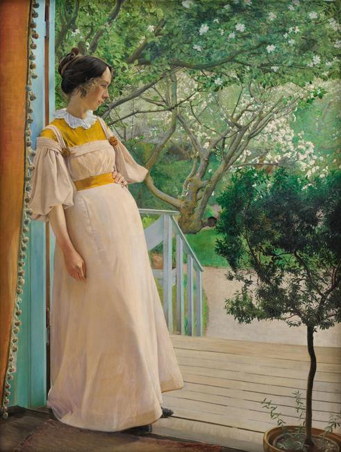 L.A.  Ring, At the French Windows, The Artist's Wife, 1897.