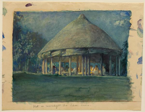 JOHN LA FARGE AMERICAN, 1835–1910.  HUT IN MOONLIGHT, IVA, SAVAII, OCT., 1890.  Watercolor, gouache and gum arabic on wove paper, Overall: 12 13/16 x 16 9/16 in.  (32.5 x 42.1 cm).  Gift of L.  Bancel La Farge, 1966 1966.5