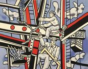 This incredible Aubusson tapestry is modeled on the work Les constructeurs sur fond bleu by Fernand Léger