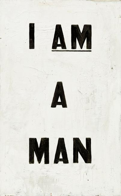 Glenn Ligon, Untitled (I Am a Man), 1988, oil and enamel on canvas, National Gallery of Art, Washington, Patrons' Permanent Fund and Gift of the Artist
